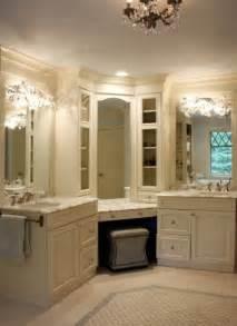 Single Sink Vanity With Makeup Area by Corner Vanity Traditional Bathroom Sharon Mccormick