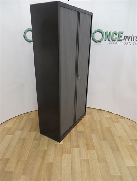 Black Office Cupboard by Used Office Storage Black Tambour Door Cupboard 1980h X