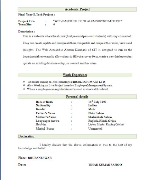 Resume Format For Freshers by Best Resume Format For Freshers