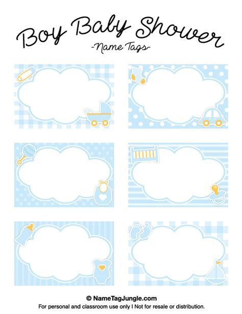 #freeprintable #babyshower #babyshowerideas #elephant download these free printable lucky gift tags for st. Free printable boy baby shower name tags. The template can ...