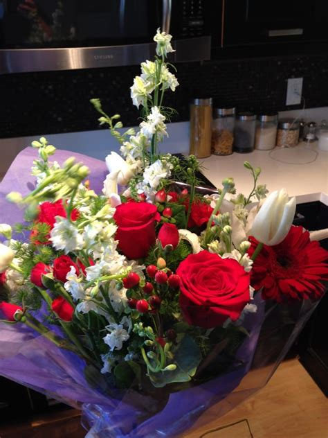 bouquet of and white flowers for nursing school