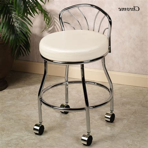 Furniture: Wonderful Vanity Stool With Wheels For Alluring