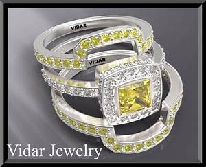 Yellow sapphire wedding ring set vidar jewelry unique for Sapphire engagement ring and wedding band set