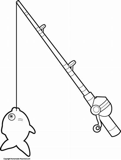 Drawing Fishing Clipart Reel Pole Sketch Rod