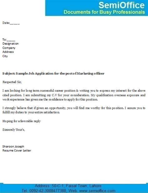 sle covering letter for application by email the