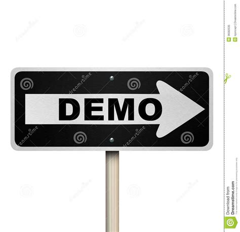 Demo Product Demonstration Road Sign Service Example Stock