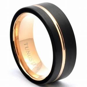 black tungsten ring offset rose gold stripe wedding band With black tungsten ring rose gold wedding band