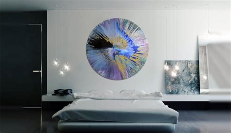 canvas painting  blue gold  black spin art