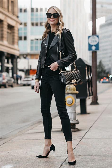 stylish   wear  black leather jacket fashion jackson