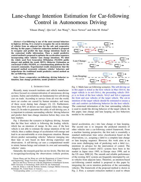 lane change intention estimation  car