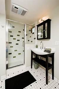 Black and white bathroom floor tile bathroom contemporary for Black and white modern bathroom