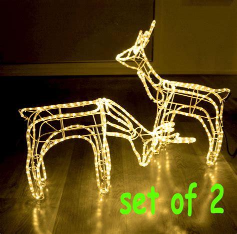 rope lighted christmas deer set of 2 3d reindeer motif deer rope light lights warm white ebay