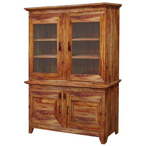 Solid Wood Hutch - nevada traditional glass door solid wood hutch