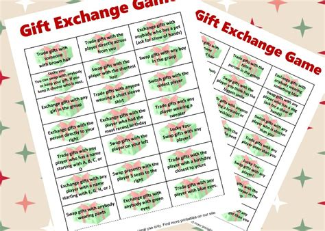 gift exchange game printable  crazy adventure