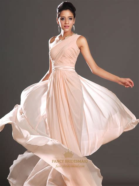 flowy dresses flowy one shoulder floor length prom dress with lace