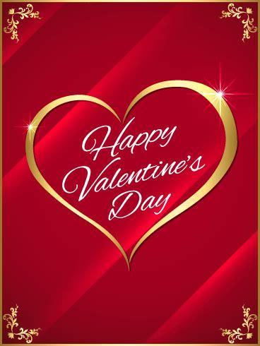 golden heart happy valentines day card birthday
