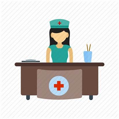 Hospital Reception Receptionist Icon Medical Office Waiting