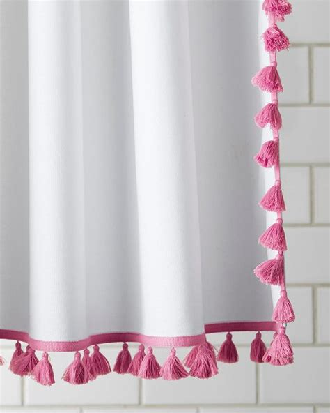 navy  white french tassel shower curtain