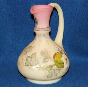 fenton glass burmese 7 inch painted ewer 1862 from liveoakantiques on ruby