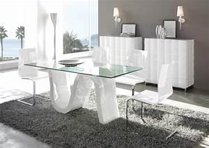 Table En Verre Rectangulaire : acheter votre table ovale plateau verre pied central laqu blanc chez simeuble ~ Teatrodelosmanantiales.com Idées de Décoration