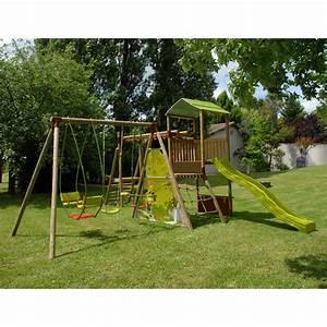 Balancoire Et Toboggan : balancoire bois avec toboggan et cabane les cabanes de ~ Melissatoandfro.com Idées de Décoration