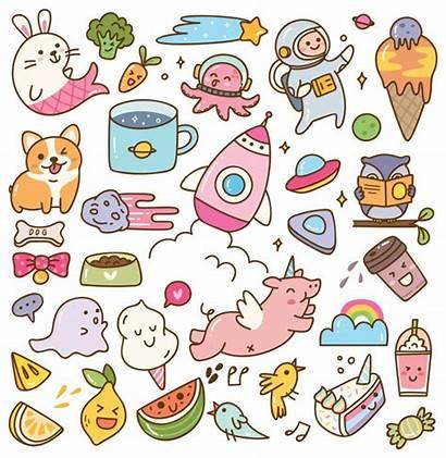 Kawaii Doodles Doodle Premium Zum Conjunto Garabatos