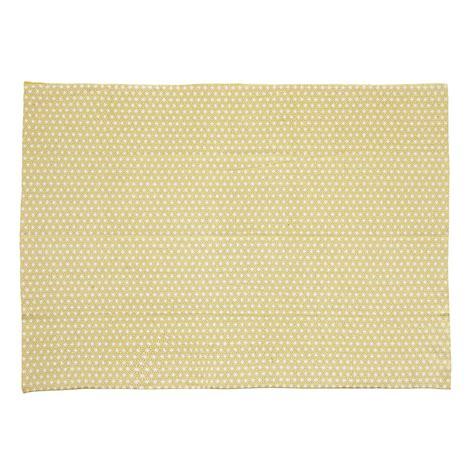 tapis en coton jaune moutarde 140 x 200 cm origami maisons du monde