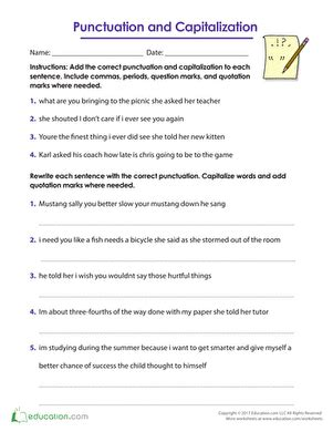 punctuation  capitalization worksheet educationcom