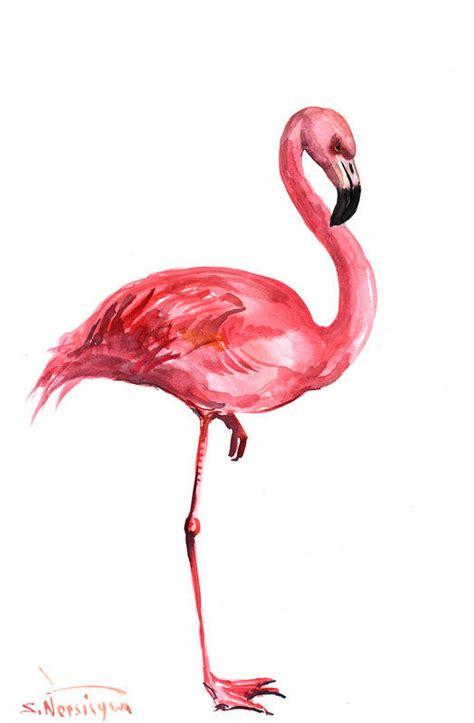 pink flamingo original watercolor from originalonly on etsy