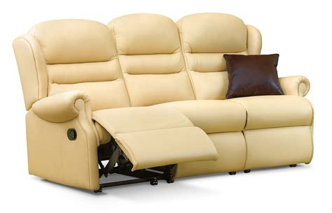 Reclining Settees by Ashford Small Leather Reclining 3 Seater Settee