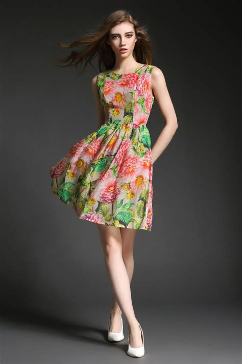 cocktailkleid sommer kleid mit blumen druck