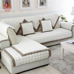 Aliexpresscom buy white grey plaid sofa cover plush for Sectional sofa furniture protector