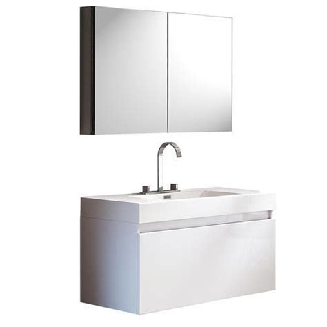White Bathroom Vanities At Menards by Fresca Mezzo White Modern Bathroom Vanity W Medicine