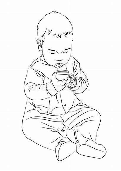 Sitting Kid Floor Paints Child Draw Kind