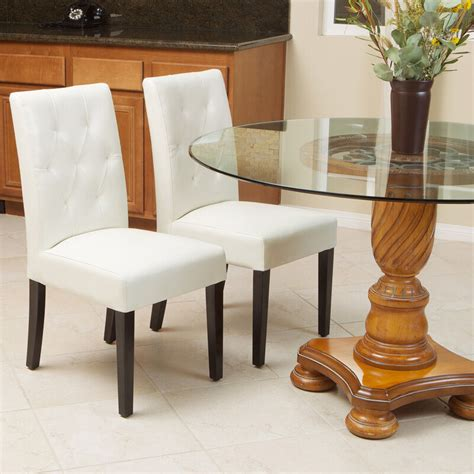 set   elegant ivory white leather dining room chairs