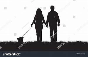 Silhouette Couple Walking Their Dog Stock Vector 36470782 ...