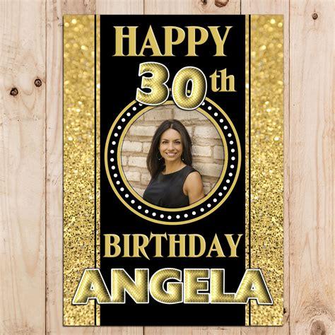 personalised black gold sparkle happy birthday photo