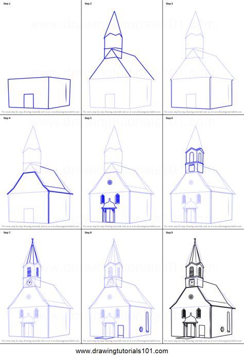 draw  church building printable step  step