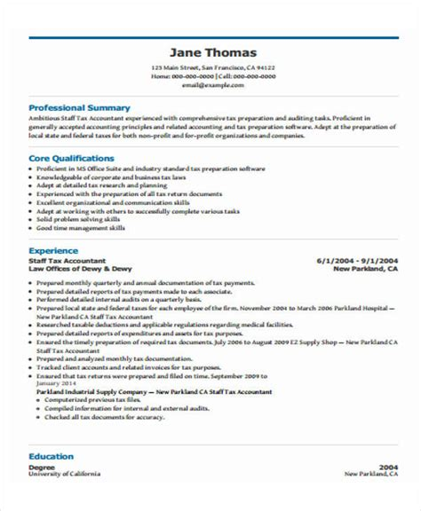 Tax Accountant Resume by 31 Free Accountant Resumes