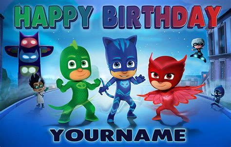 pj masks personalize birthday banner  specialtybanners