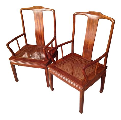 henredon asian dining arm chairs pair chairish