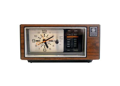 General Electric Alarm Clock Radio Wood Grain Mid Century