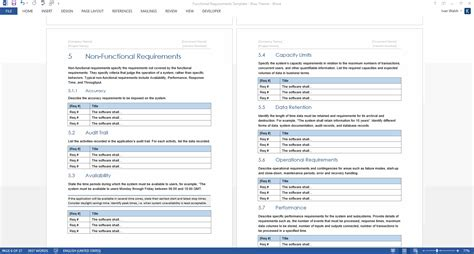 functional requirements specification ms word excel