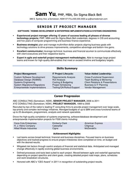 how does an australian it project manager s resume look