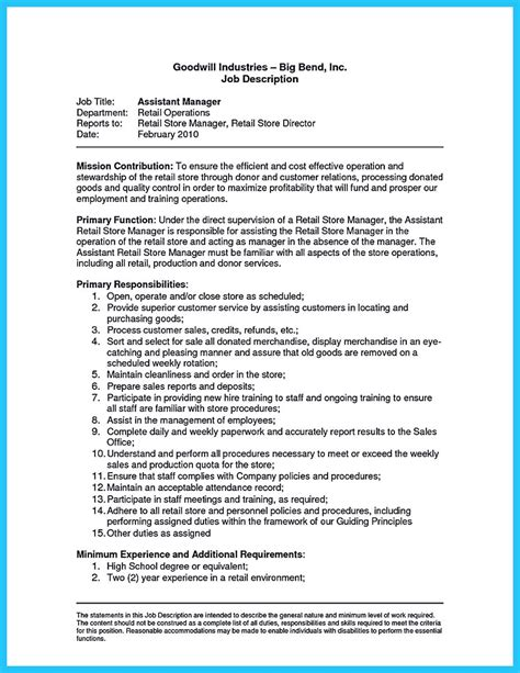 Assistant Description Resume by Crafting A Great Assistant Store Manager Resume