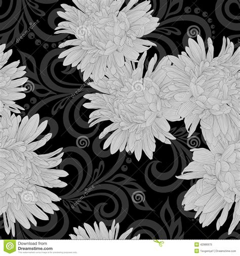 Abstract Flowers Black And White by Black And White Seamless Pattern With Aster Flowers And