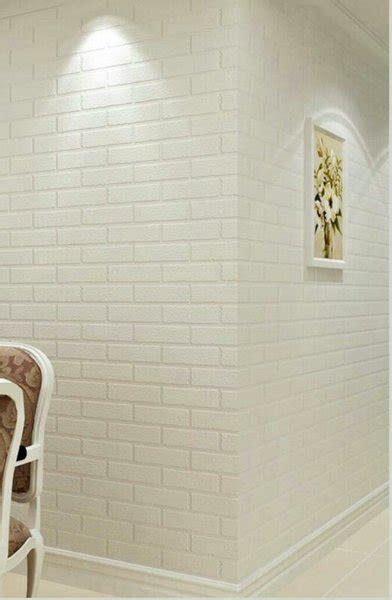 wallpaper motif batu bata putih timbul  lapak efron