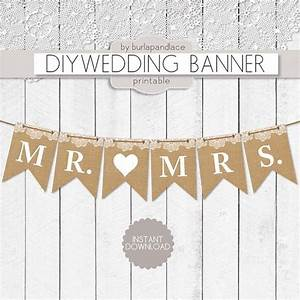 mrand mrs burlap digital banner illustrations on With diy wedding banner templates