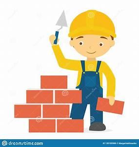 Cartoon Smiling Builder In Uniform Brick Stock Vector