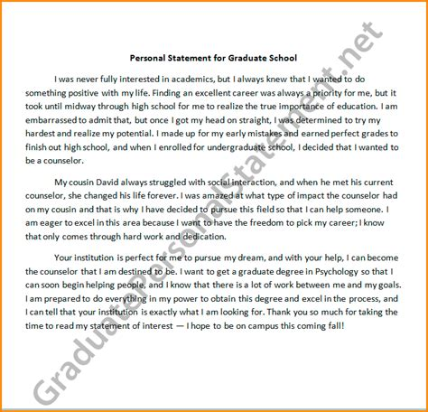 Personal Statement On Resume For Graduate School by 11 Personal Statement For Graduate School Sle